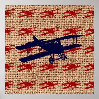 Avião da hélice do biplano do vintage no impressão