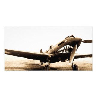 Avião de combate de WWII Flying Tigers Curtiss Cartão Com Foto