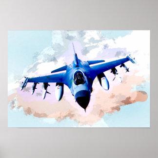 Avião de combate na pintura do céu pôster