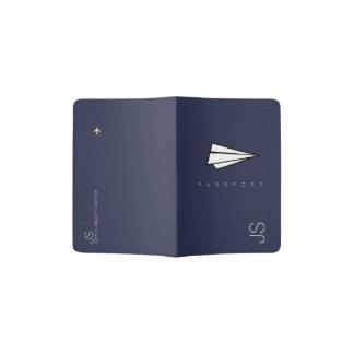 avião de papel azul & elegante capa para passaporte