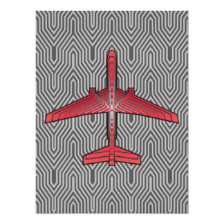 Avião do art deco, cinzas alaranjadas e de prata poster