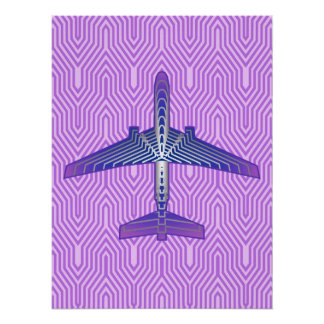 Avião do art deco, cinzas roxas e de prata poster