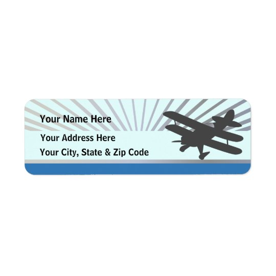 Avião do biplano etiqueta endereço de retorno