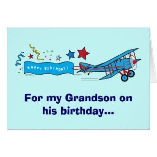 Avião do neto do feliz aniversario cartão comemorativo