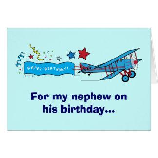 Avião do sobrinho do feliz aniversario cartão comemorativo