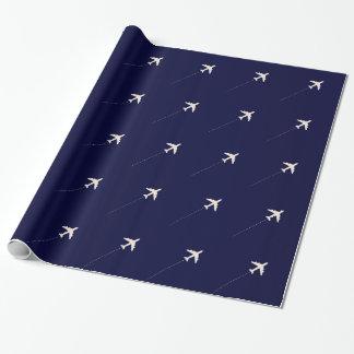avião do viagem com linha pontilhada papel de presente