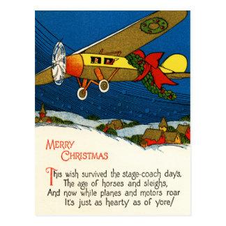 Avião do vintage do Feliz Natal Cartões Postais