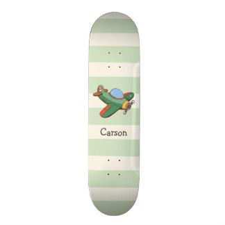 Avião do vintage em listras verdes Pastel Shape De Skate 20,6cm