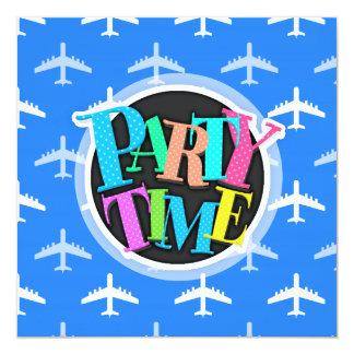 Avião dos azul-céu e do branco; Plano Convite Quadrado 13.35 X 13.35cm