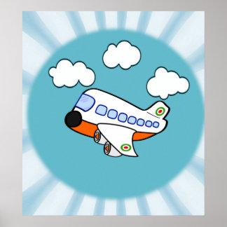 Avião dos desenhos animados nas nuvens com Sunburs Poster