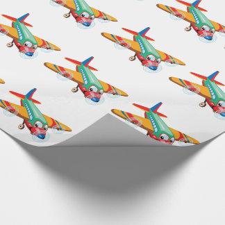 avião dos desenhos animados papel de presente