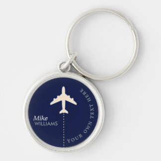 avião no chaveiro azul com nome