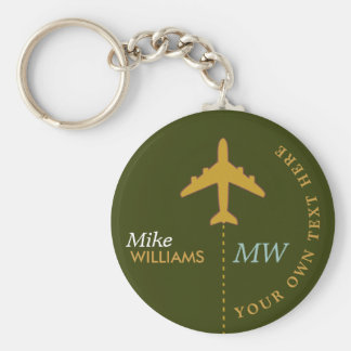 avião no chaveiro esverdeado com nome