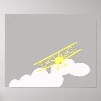 Avião no fundo cinzento liso posters