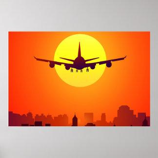 Avião & por do sol poster