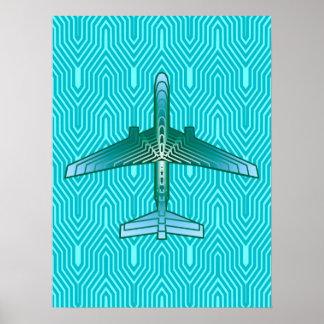 Avião, turquesa, cerceta e Aqua do art deco Poster