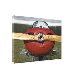 Avião vermelho e canvas de madeira da hélice