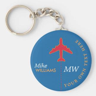 avião vermelho no chaveiro azul com nome