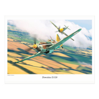 "Aviation Art Postcard ""Dewoitine D.520"" Cartão Postal"