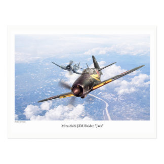 "Aviation Art Postcard ""Mitsubishi J2M Jack"" Cartão Postal"