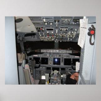 Aviões de jato da Cabina do piloto Comercial do ca Poster