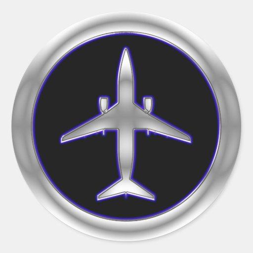 Aviões de jato de prata adesivos em formato redondos
