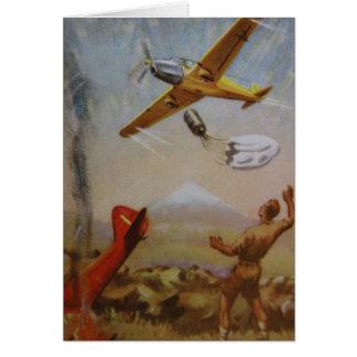Aviões do vintage com cartão do pára-quedas