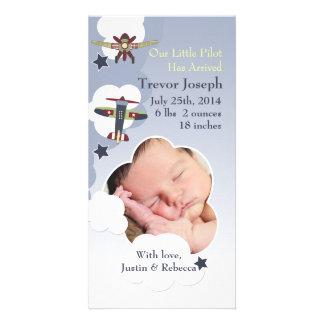 Aviões e anúncio do bebê do céu cartão com foto