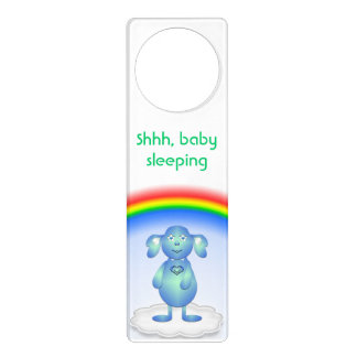 Aviso De Porta Azul de bebê e o arco-íris