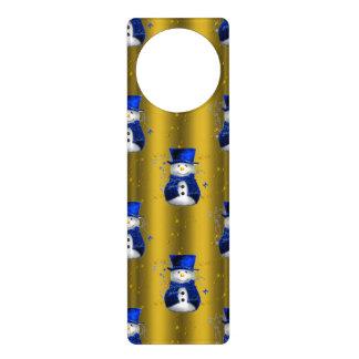 Aviso De Porta Boneco de neve azul no Natal do ouro