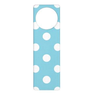 Aviso De Porta Teste padrão de bolinhas azul e branco