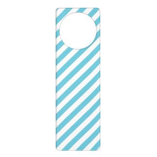 Aviso De Porta Teste padrão diagonal azul e branco das listras