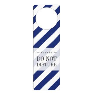 Aviso De Porta Teste padrão diagonal do azul marinho e o branco