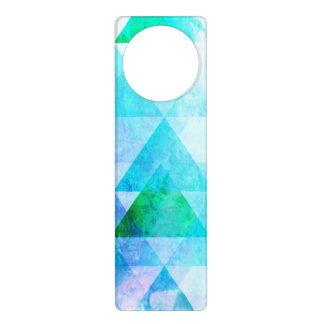 Aviso De Porta Teste padrão geométrico da aguarela azul