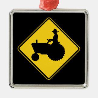 Aviso do sinal de estrada do trator de fazenda ornamento quadrado cor prata