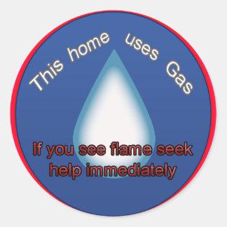 aviso home do gás adesivo em formato redondo