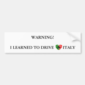 Aviso italiano para motoristas adesivo para carro
