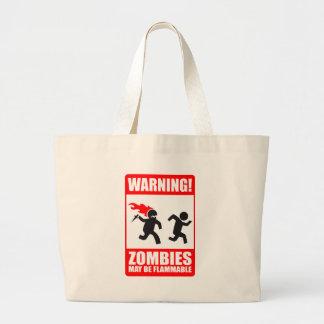 Aviso! Os zombis podem ser sacola inflamável Sacola Tote Jumbo