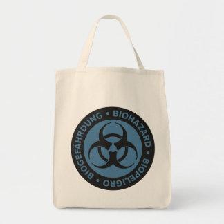 Aviso trilíngue azul desvanecido do Biohazard Sacola Tote De Mercado