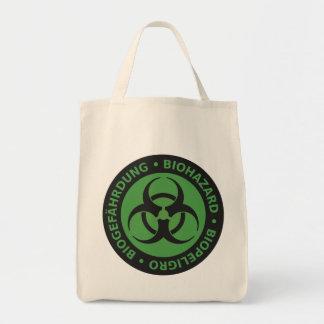 Aviso trilíngue verde desvanecido do Biohazard Sacola Tote De Mercado