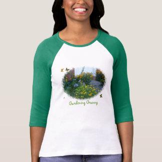 Avó-flores de jardinagem+borboletas camiseta