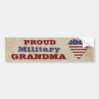 Avó militar orgulhosa com coração patriótico adesivo de para-choque