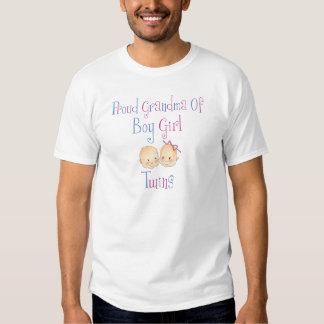 Avó orgulhosa de gêmeos da menina do menino t-shirt