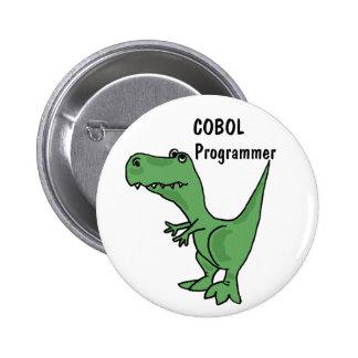 AZ- botão do dinossauro do programador de COBOL Bóton Redondo 5.08cm