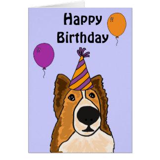 AZ- cartão de aniversário bonito do cão de Sheltie
