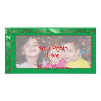 Azevinho do verde do modelo do cartão com fotos do cartão com foto