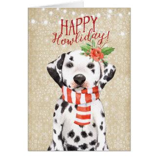 Azevinho feliz do dalmation do cartão de Natal de