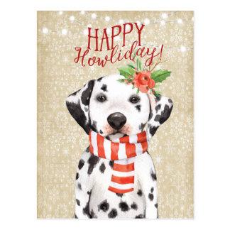 Azevinho feliz do dalmation do cartão do Natal de