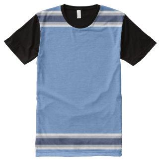 Azuis bebés com as listras brancas das cinzas e do camiseta com impressão frontal completa