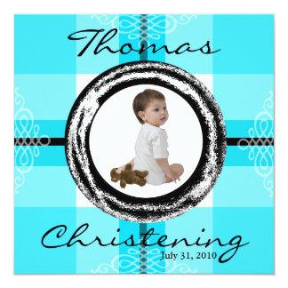 Azuis bebés do convite do batismo do baptismo